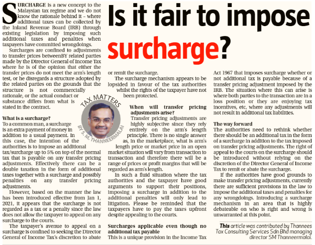 Is it fair to impose surcharge