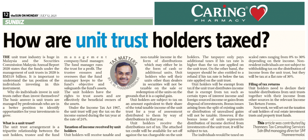 How are unit trust holders taxed